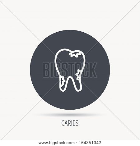 Caries icon. Tooth health sign. Round web button with flat icon. Vector