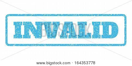 Light Blue rubber seal stamp with Invalid text. Vector tag inside rounded rectangular frame. Grunge design and dirty texture for watermark labels. Horisontal sign on a white background.