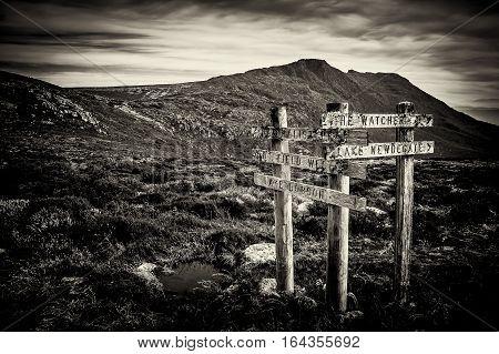 Sign posts at Mt Field National Park, Tasmania, Australia