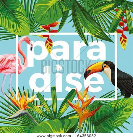 Trendy slogan paradise in the frame. The composition of tropical banana leaves flowers wild birds toucan and pink flamingo. Blue background