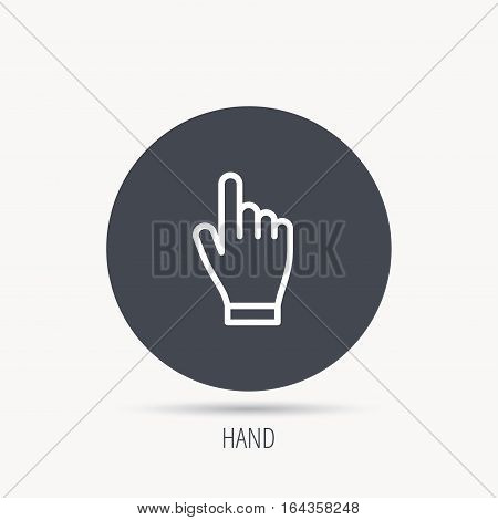 Click hand icon. Press or push pointer sign. Round web button with flat icon. Vector