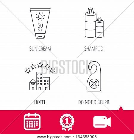 Achievement and video cam signs. Hotel, shampoo and sun cream icons. Do not disturb linear sign. Calendar icon. Vector