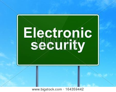 Protection concept: Electronic Security on green road highway sign, clear blue sky background, 3D rendering