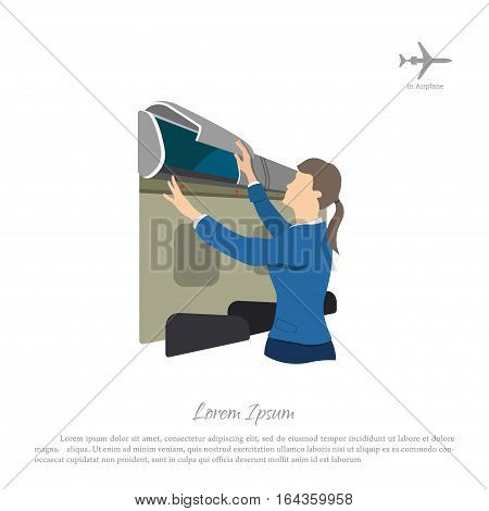 Stewardess opens a box for luggage on the airplane. Woman in uniform. Vector illustration