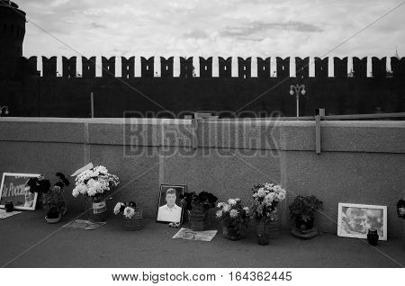 MOSCOW - SEPTEMBER 22 2015: Memorial to Boris Nemtsov on Bolshoy Moskvoretsky Bridge. Politician was assassinated here on February 27 2015