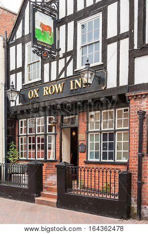 Salisbury Wilshire United Kingdom - June 18 2006: Ox Row Inn pub sitting on Butcher's Row is a traditional english pub.
