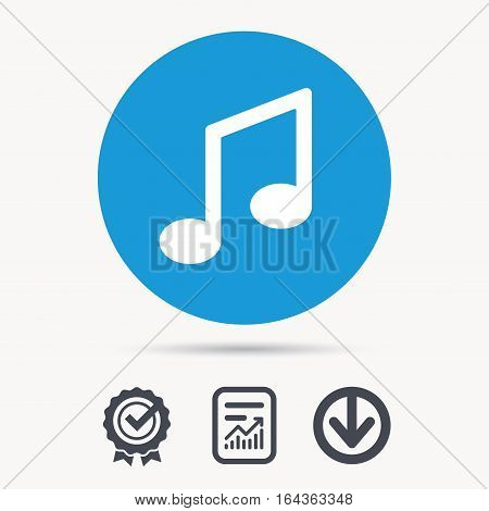 Music icon. Musical note sign. Melody symbol. Achievement check, download and report file signs. Circle button with web icon. Vector