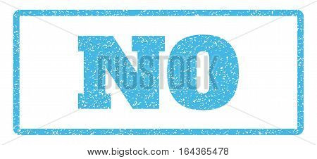 Light Blue rubber seal stamp with No text. Vector caption inside rounded rectangular shape. Grunge design and dirty texture for watermark labels. Horisontal sign on a white background.