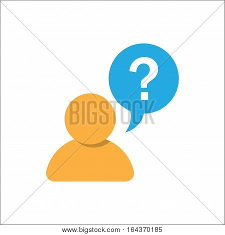 Pictograph FAQ question of question mark and man. Vector illustration