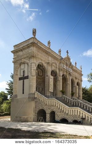 Way of the Cross and Calvary built years ago by St. Louis Montfort in Pontchateau in France - the beginning of Pilate's palace