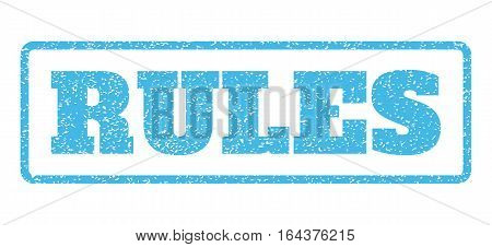 Light Blue rubber seal stamp with Rules text. Vector caption inside rounded rectangular frame. Grunge design and dust texture for watermark labels. Horisontal emblem on a white background.