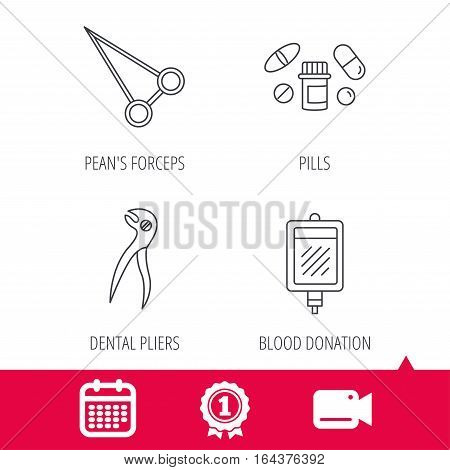 Achievement and video cam signs. Medical pills, blood and dental pliers icons. Peans forceps linear sign. Calendar icon. Vector