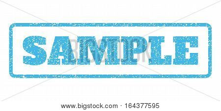 Light Blue rubber seal stamp with Sample text. Vector tag inside rounded rectangular shape. Grunge design and scratched texture for watermark labels. Horisontal emblem on a white background.