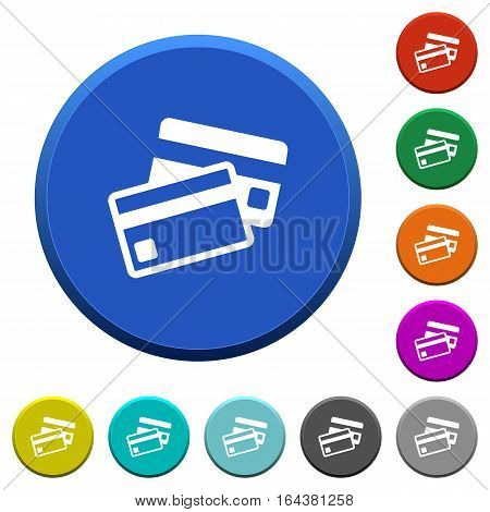 Credit cards round color beveled buttons with smooth surfaces and flat white icons