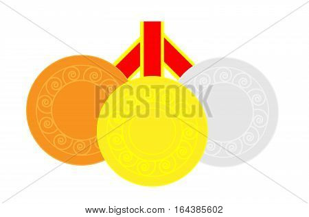Gold silver and bronze medals in alignment