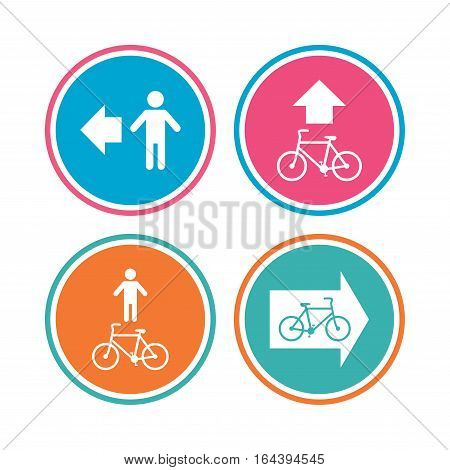 Pedestrian road icon. Bicycle path trail sign. Cycle path. Arrow symbol. Colored circle buttons. Vector