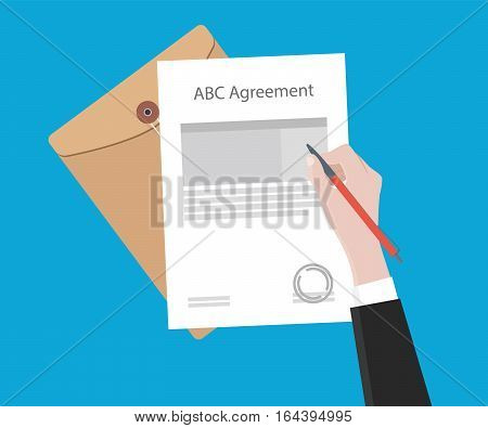 Signing important agreement letter with a pen illustration vector