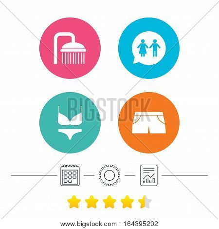 Swimming pool icons. Shower water drops and swimwear symbols. WC Toilet speech bubble sign. Trunks and women underwear. Calendar, cogwheel and report linear icons. Star vote ranking. Vector