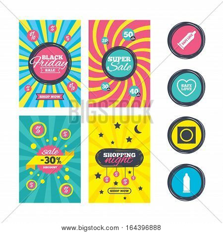 Sale website banner templates. Safe sex love icons. Condom in package symbol. Fertilization or insemination. Heart sign. Ads promotional material. Vector