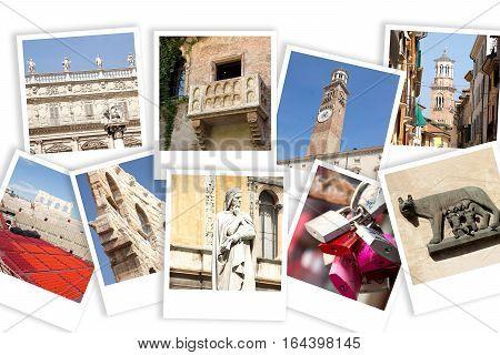 Various photos of Verona on white backgrouns