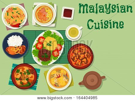 Malaysian cuisine icon of chicken with onion, spicy beef with rice, fish stew with pineapple, noodle soup with shrimp and pork, lamb vegetable stew, beef potato in coconut sauce, shrimp bean rice