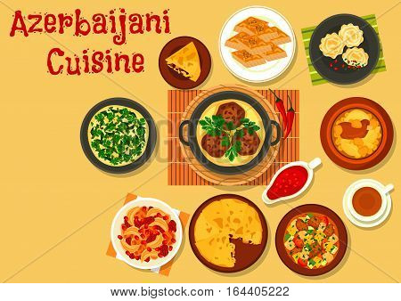 Azerbaijani cuisine dinner with dessert icon of vegetable lamb stew, rice pilaf with dried fruit, fried chicken with cornel, chickpea lamb stew, meatball, fish pie, nut and honey baklava, omelette