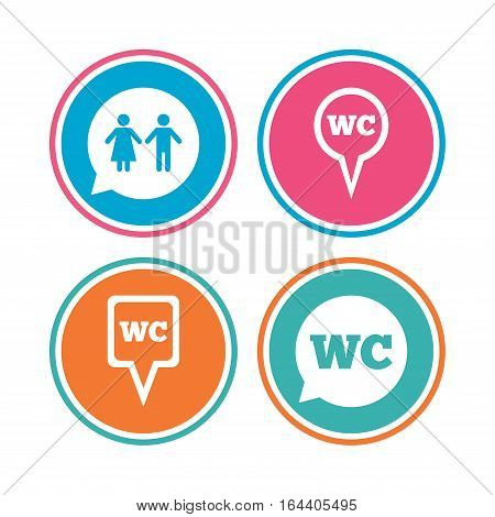 WC Toilet pointer icons. Gents and ladies room signs. Man and woman speech bubble symbols. Colored circle buttons. Vector