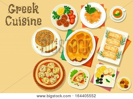 Greek cuisine healthy lunch icon with vegetable meat casserole moussaka, fried feta cheese, fish roe spread with olive and bread, egg pasta, meatball, open onion tomato pie, sweet bread vasilopita