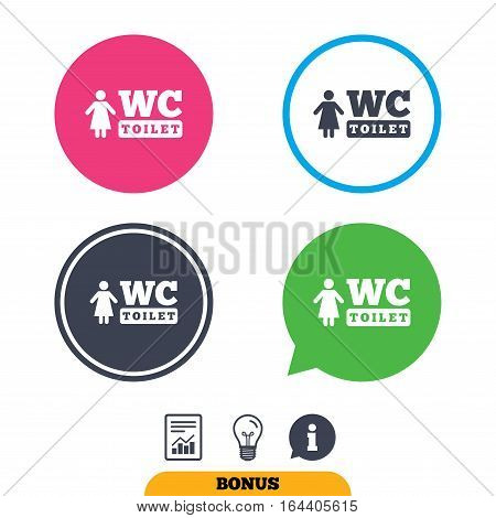 WC women toilet sign icon. Restroom or lavatory symbol. Report document, information sign and light bulb icons. Vector