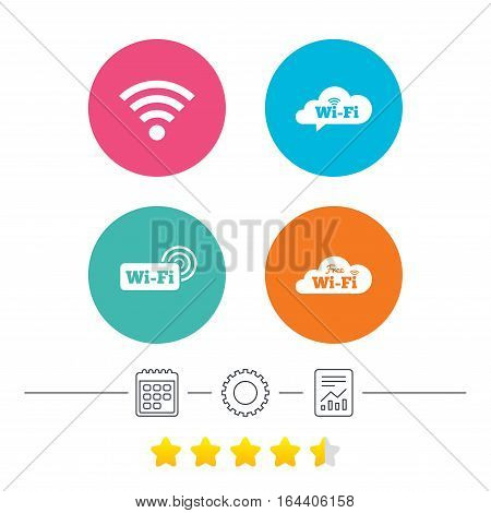 Free Wifi Wireless Network cloud speech bubble icons. Wi-fi zone sign symbols. Calendar, cogwheel and report linear icons. Star vote ranking. Vector