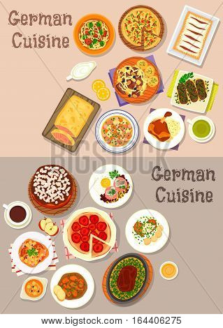 German cuisine icon set with ham hock, beef steak, pork chops, schnitzel, vegetable, sausage and sauerkraut stew, bacon pie, sausage noodle soups, beef hash, salmon in pastry, fruit and chocolate cake