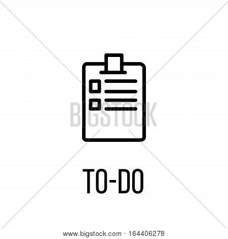 To-do icon or logo in modern line style. High quality black outline pictogram for web site design and mobile apps. Vector illustration on a white background.