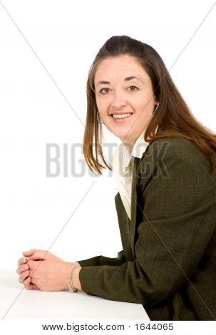 Business Woman Portrait On A Table