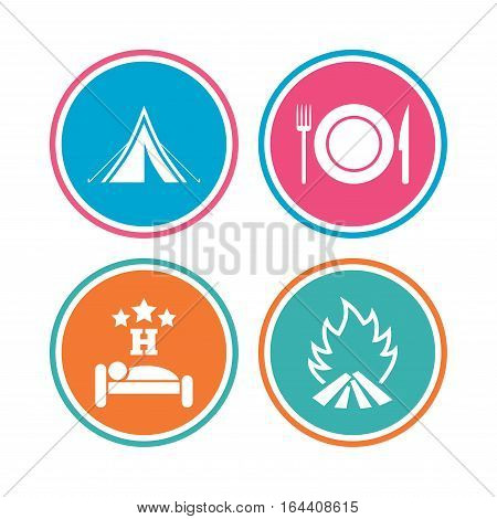 Food, sleep, camping tent and fire icons. Knife, fork and dish. Hotel or bed and breakfast. Road signs. Colored circle buttons. Vector