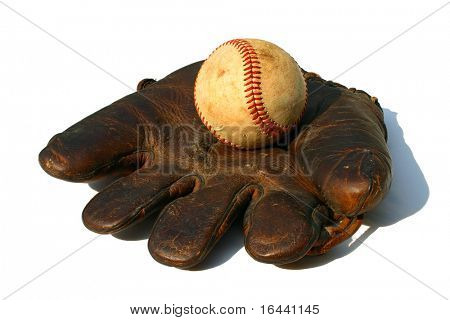 antique baseball and glove on white background