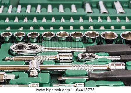 Tools and wrenches. Socket wrench. Small tools