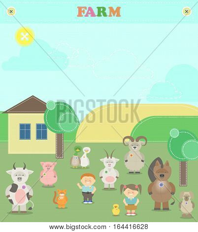 Farm animals. Plush animals. Illustration of a farm with animals and children with scrap-booking style