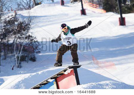 Pee Wee Sherman Snowboard Rail Jam Wettbewerb, Tirol-Becken, Mount Horeb (Wisconsin)
