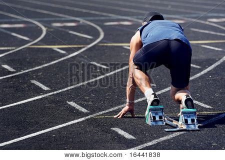 middle-aged man on the starting line of a race