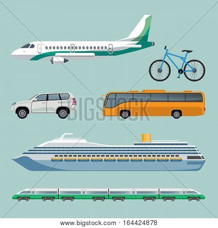 Fast means of transportation set of modern transport items. Vector poster of cartoon illustrations with airplane, bike, automobile, bus, luxury ship and train with many cars. Travelling concept