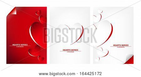 Vector illustration peeling paper white paper on red paper into become heart shape design