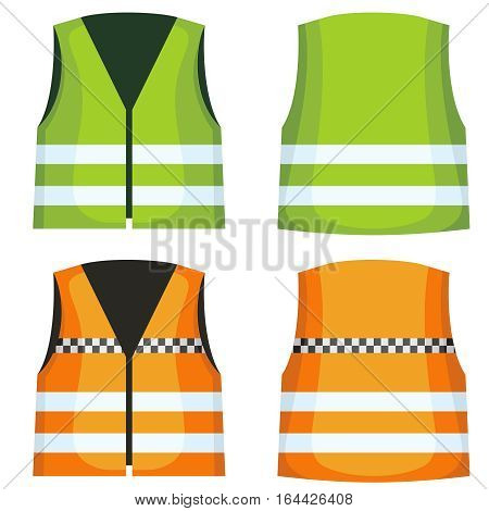 Safety road vest, waistcoat with reflective stripes vector set. Vest jacket fot work on road illustration