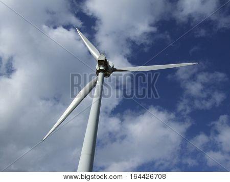 Back view of a wind turbine at an Australian wind farm