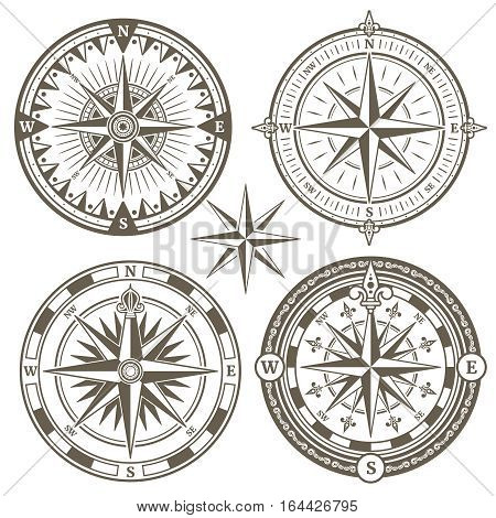 Old sailing marine navigation compass, wind rose vector icons. Set of windrose for navigation in sea, illustration of compass with wind rose
