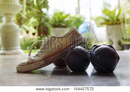 Sport Shoe And Metal Dumbbell, Fitness Sport Equipment Of Care Healthy