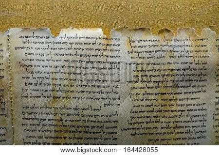 Dead Sea Scrolls On Display At The Caves Of Qumran. They Consist Biblical And Non-biblical Manuscrip