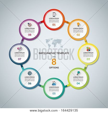 Infographic circle with 8 options. Round chart for business infographics with the set of flat icons and design elements. Can be used for web, diagram, chart, graph, report, step options.
