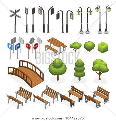 Urban city street miniature isometric vector objects, benches, trees, streetlight, seats, road signs. Urban object bench and tree, elements for urban design illustration