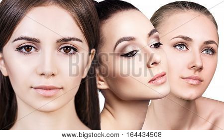 Collage of perfect faces of beautiful woman's over white background