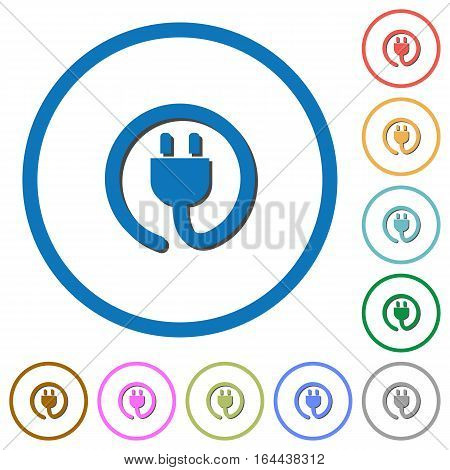 Rolled power cord flat color vector icons with shadows in round outlines on white background